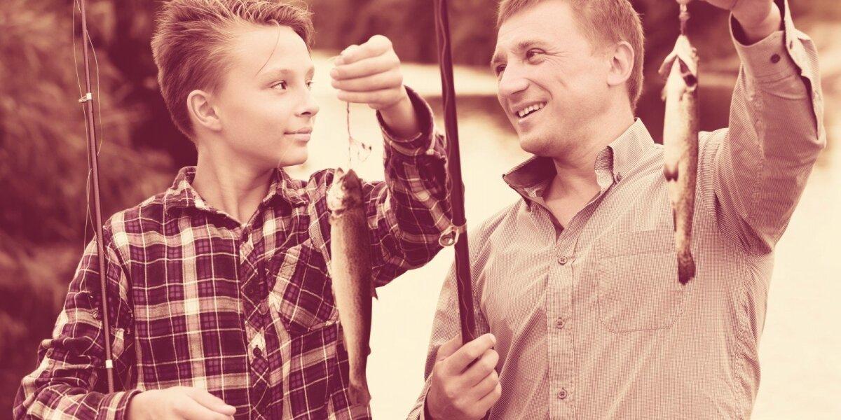 Tėvas ir sūnus žvejyboje
