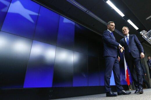 Polish President Andrzej Duda, EU Council President Donaldas Tuskas