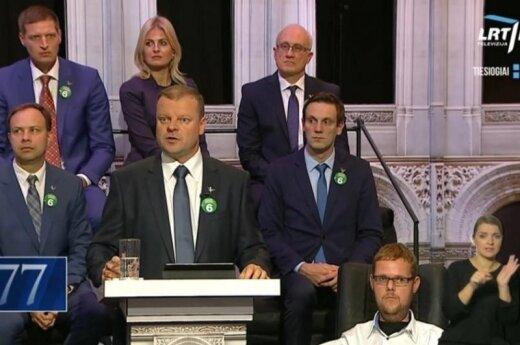 Skvernelis during the last TV debate on LRT