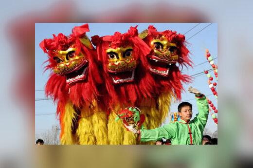 Kinų aktoriai šoka liūtų šokį Pekine švęsdami Naujuosius metus pagal kinų kalendorių. Gyvenimas judrioje Kinijos sostinėje sulėtėjo, nes visi gyventojai mėgaujasi kasmetinėmis visą savaitę trunkančiomis Pavasario festivalio atostogomis.