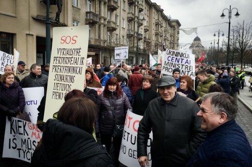 Несколько сотен молочников в центре Вильнюса провели пикет