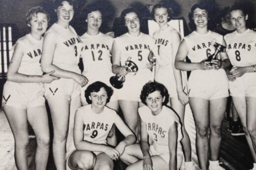 The Melbourne Varpas women's team pictured in December, 1956. My mother's aunty Audronė Lazutkaitė (Kovalskienė) is pictured wearing number seven.