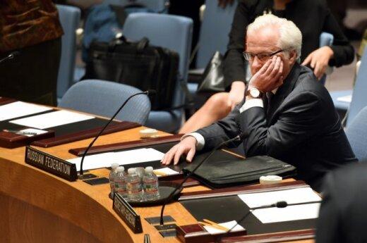 JT Saugumo Tarybos posėdis dėl rezoliucijos dėl lėktuvo katastrofos.  Rusijos ambasadorius Vitalijus Čiurkinas