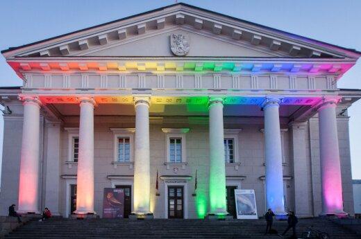 Vilnius' Town Hall in rainbow colours