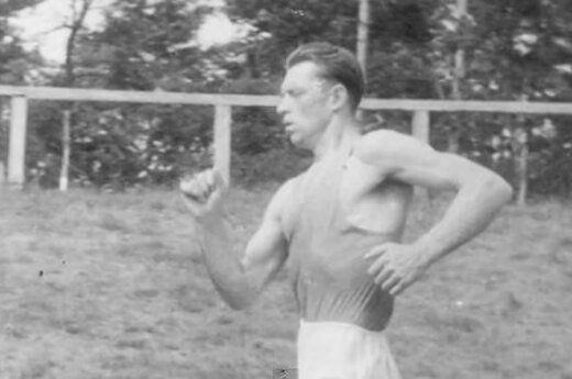Antanas Mikėnas pictured in action.
