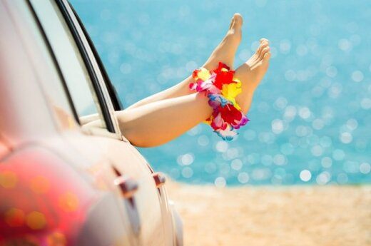 pėdos, automobilis, pliažas