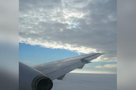 Lėktuvas, sparnas, skrydis, dangus, debesys