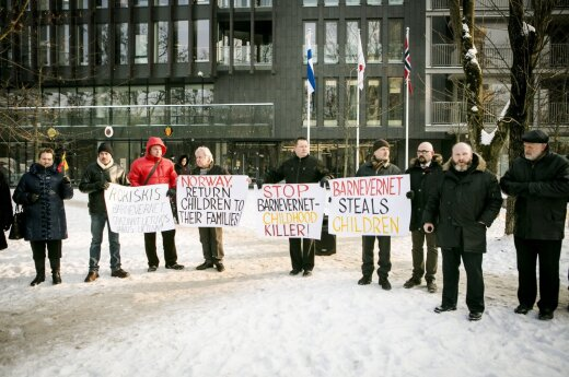 A protest in front of Norway's embassy in Vilnius