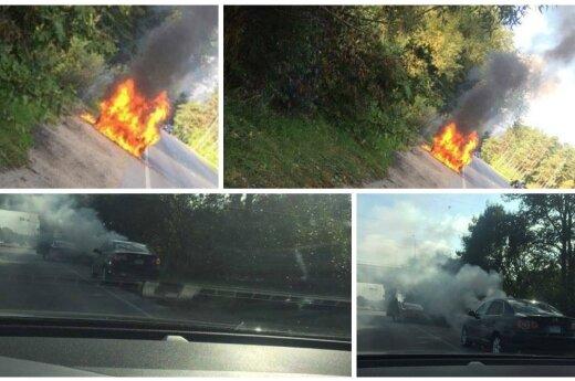 В Каунасе сгорел автомобиль
