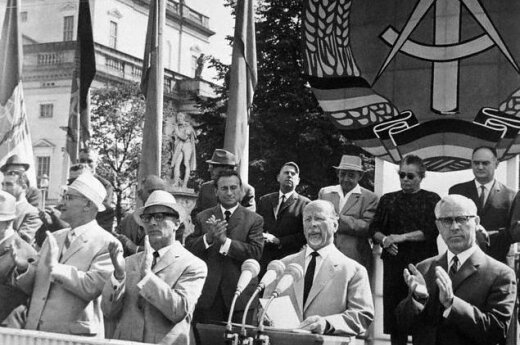 13 Aug 1966, East Berlin, East Germany --- Commemorate Berlin Wall.  East Berlin, East Germany:  East German president Walter Ulbricht addresses a rally commemorating the fifth anniversary of the Berlin wall here.   In his address Ulbricht told the West t