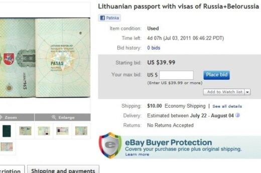 На Ebay почти за сто литов продается литовский паспорт