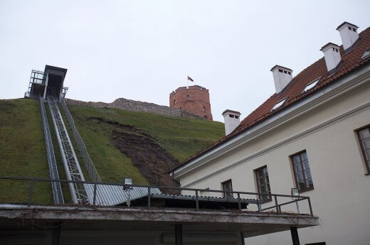 Landslide threatens historic Gediminas Castle Hill in Vilnius