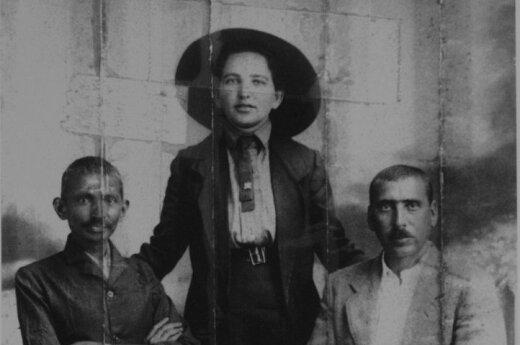 Mahatma Gandhi, his secretary Sonia Schlesin and Dr. Hermann Kallenbach