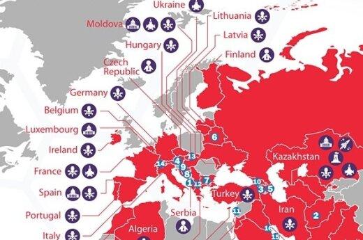 """""""Red October"""" paplitimo žemėlapis"""