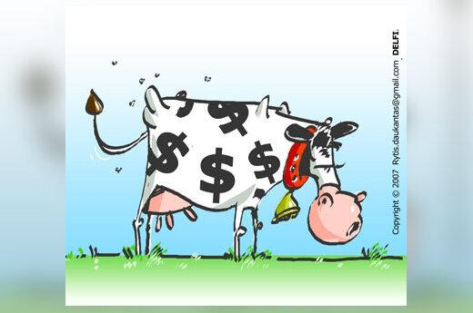 Pienas, maistas, kainos, karikatūra