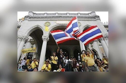 Protestuotojai prie Tailando vyriausybės pastato