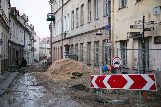 Tęsiama Bokšto gatvės rekonstrukcija - iki balandžio 2 d. bus eismo ribojimų