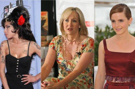 Amy Winehouse, J. K. Rowling ir Emma Watson