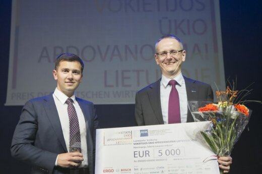 Baltic Amadeus accepting the award. Photo by Vincas Alesius, AHK Baltic States