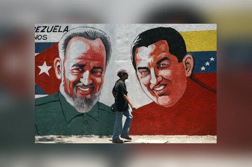 Fidelio Castro ir Hugo Chavezo portretai