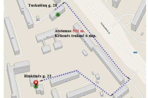 Maršrutas iki komunalinių atliekų konteinerių. Atliekas reikės pristatyti už 0,5 km