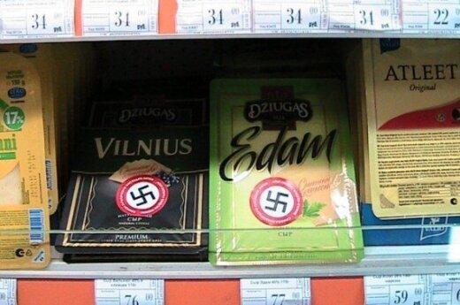Lietuviški produktai Rusijoje su svastikomis, fishki.net nuotr.
