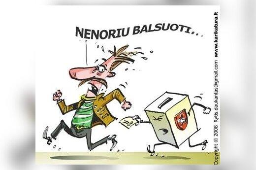 Balsavimas, rinkimai, aktyvumas, karikatūra