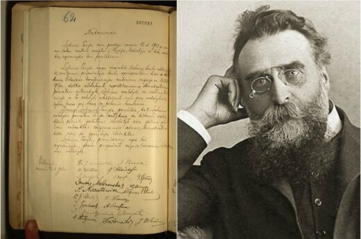 The original copy of Lithuania's 1918 Act of Independence that was found this week in Berlin's diplomatic archives and one of the main signatries of the document Jonas Basanavičius