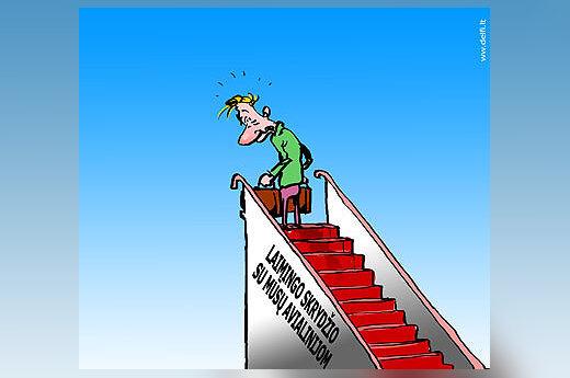 Lėktuvo trapas - karikatūra