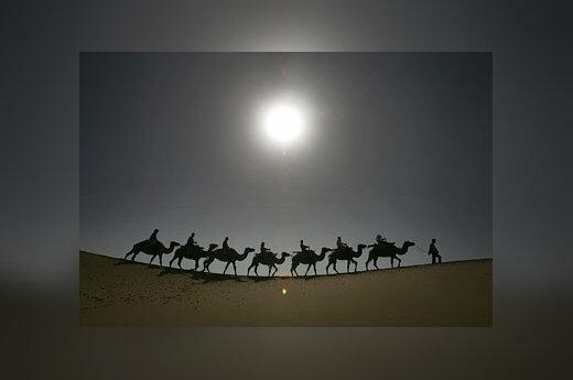 Kupranugariais keliaujantys turistai