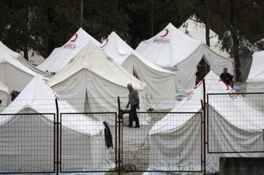 Pabėgėlių stovykla Turkijoje netoli Sirijos sienos