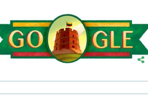 Google congratulates Lithuania with Gediminas Castle logo on February 16