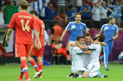 Graikai nubraukė Rusijos futbolininkų viltis