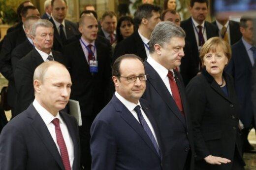 Vladimiras Putinas, Francois Hollande'as, Petro Porošenka, Angela Merkel