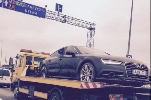 "I. Strazdauskaitės automobilis ""Audi A7"" atgabentas į Vilnių"