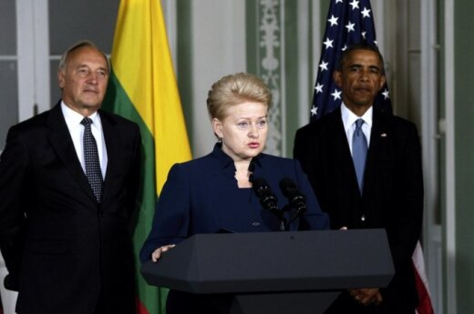 Prezident Dalia Grybauskaitė at a press conference with the US President  Barack Obama in Tallinn