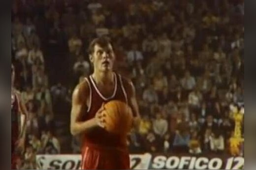 Modestas Paulauskas pictured on film at the 1973 EuroBasket in Spain.
