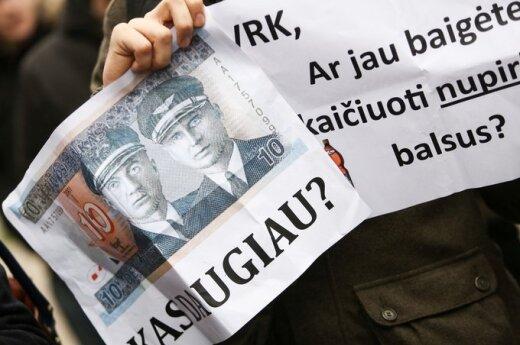 Protest przeciwko kupowaniu głosów przed VRK