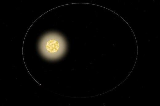 Apytikrė HAT-P-2 žvaigždės sistemos schema. Planeta aplink žvaigždę skrieja elipsiška orbita. NASA/MIT nuotr.