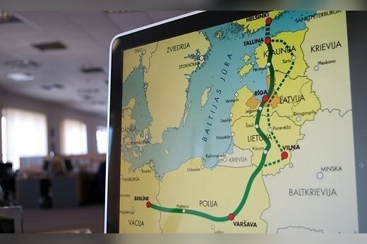 Rail Baltica map in the Latvian