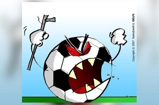 Futbolo chuliganai - karikatūra