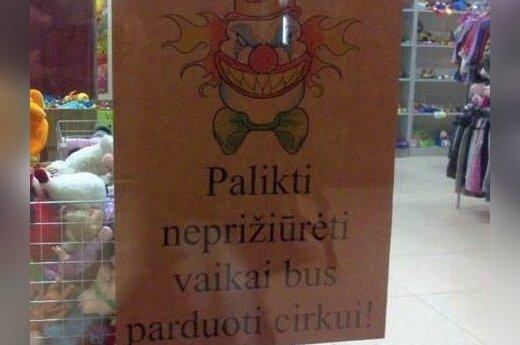 Parduotuvėje palikti vaikai - į cirką