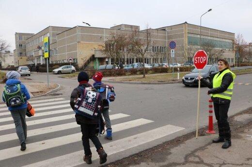 Children crossing the street