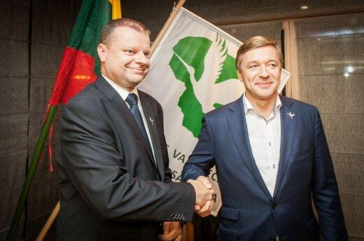 Saulius Skvernelis and Ramūnas Karbauskis during the election night