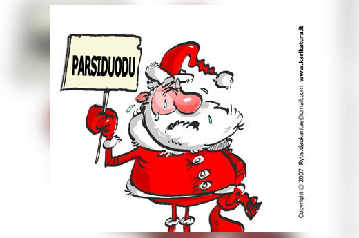 Pirkimas, Kalėdos, Kalėdų Senelis, karikatūra