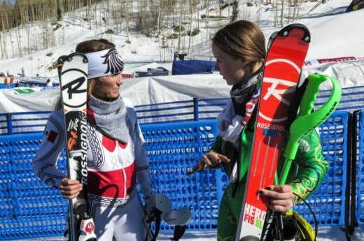 Ieva with former U.S. Ski Team racer Sarah Schleper of Vail, now racing for Mexico. Schleper did not finish the first run. © Jennifer Virskus