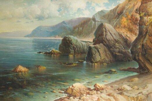 """Jalmaras Hansonas (Hjalmar Hansson, 1864–po 1932) """"Krymo vaizdas"""", 1921, drb., al., 89 x 139,5, pradinė kaina 19500 Eur"""