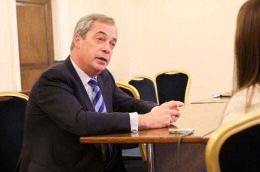 Nigel Farage during an interview in Vilnius
