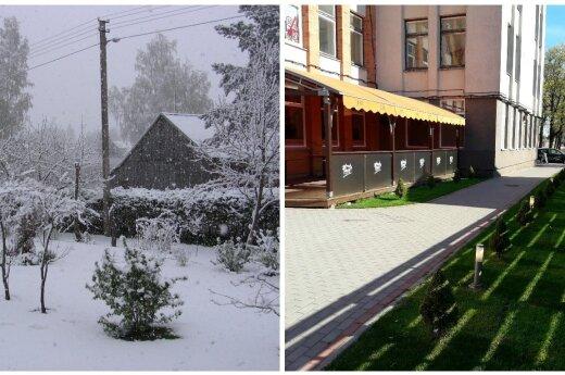 Lietuvos gyventojai apstulbę: kol vienur švietė saulė, kitur sugrįžo sniegas