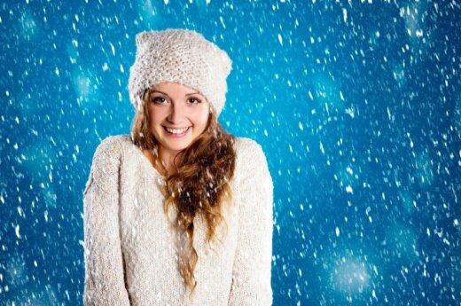 mergina, žiema, sniegas